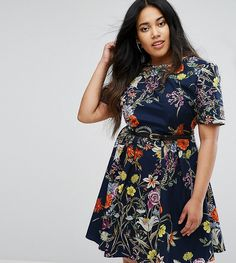 Uttam Boutique Plus Floral Print Belted Dress