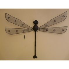 """Contemporary Metal Wall Art """"Large Rustic Dragonfly"""""""