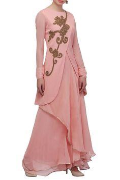 Buy Pastel pink wrap kurta & skirt by Aksh at Aza Fashions Abaya Fashion, Indian Fashion, Fashion Dresses, Kurta Skirt, Full Gown, Crop Top Dress, Silk Saree Blouse Designs, Designs For Dresses, Gown Pattern