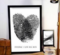 50x70 plakat MIŁOSNY ODCISK serce love - ARTT - Dekoracje