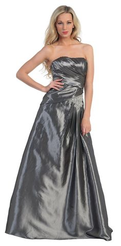 Charcoal Prom Dress A Line Strapless Taffeta Gown Long Full Length 129,99$