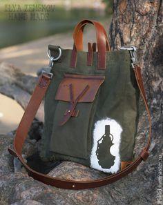 Купить Сумка в стиле милитари АММО - хаки, сумка ручной работы, мужская сумка