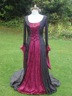 Wiccan gothic black renaissance pagan embroidered medieval handfasting gown / dress 8 to 14