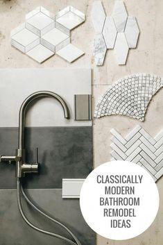 Tile and plumbing fixture ideas for bathroom remodel. Grey and white tile ideas for a bathroom. Laundry Room Tile, Room Tiles, Shower Floor Tile, Bathroom Floor Tiles, Bathroom Plants, Basement Bathroom, Bathroom Faucets, Bathroom Images, Modern Bathroom
