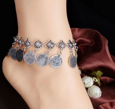 Bohemian Gypsy Silver Tassel Coin Anklet via UrbanDivaCouture. Click on the image to see more!