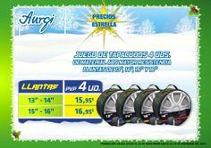 Oferta especial Juego de 4 Tapacubos para vehículo - Navidad 2013 (del 24 de noviembre al 24 de Diciembre). Más info en www.aurgi.com