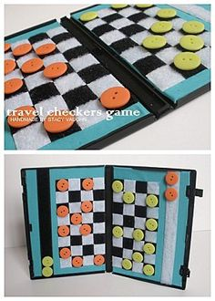 Travel checkers board with an empty DVD case