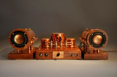 亗 Dr. Emporio Efikz 亗 — Steampunk Inspired Tube Amplifier - CopperSteam Fi Car Audio, Hifi Audio, Radios, High End Speakers, Diy Speakers, Wireless Speakers, Valve Amplifier, Hi Fi System, Audio Design