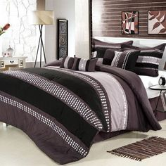 Chic Home Castle Rock 8 Piece Comforter Set Size: Queen, Color: Plum