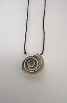 White Porcelain Rose Necklace by lofficina on Etsy