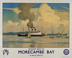 This vintage travel poster was used by Sealink to promote tourism to Northern Ireland via Scotland and England The picture shows a train meeting the Posters Uk, Railway Posters, Online Posters, Poster Prints, Train Posters, British Travel, National Railway Museum, Morecambe, Advertising Poster