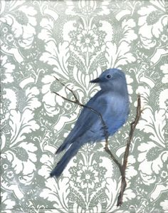 Bird on damask