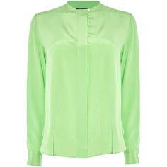 Polo Ralph Lauren Clarissa silk shirt (£175) ❤ liked on Polyvore featuring tops, green, women, woven top, polo ralph lauren shirts, woven shirt, silk shirt and green top