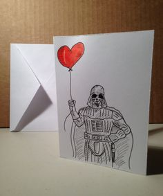 Cool >> Darth Valentine hand-made Valentine's Day Greeting Card. $5.00, via Etsy.