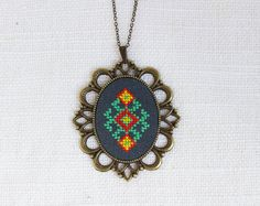 Ethnic necklace hand embroidered Ukrainian embroidery от skrynka