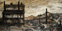 Derrick Greaves, Sheffield, 1953 © Derrick Greaves, courtesy James Hyman Gallery in London Industrial Artwork, Industrial Paintings, Galleries In London, Cities In Europe, Art For Art Sake, Wood Engraving, Urban Landscape, Medium Art, Artist Art