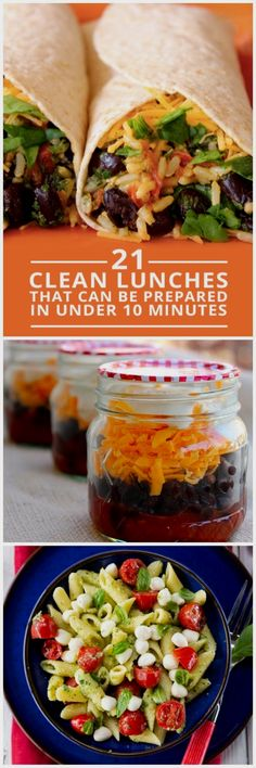 Clean Lunches In Under 10 Minutes 21 Clean Lunches Prepared in Under 10 Minutes - eat clean all day long! 21 Clean Lunches Prepared in Under 10 Minutes - eat clean all day long! Lunch Recipes, Real Food Recipes, Vegetarian Recipes, Cooking Recipes, Healthy Recipes For One, Health Recipes, Vegetarian Cooking, Detox Recipes, Healthy Vegetarian Lunch Ideas
