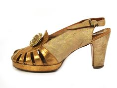 """1940s Open Shoes with Brocade and Leather Upper with Plastic Rosette. Stamped: """"A Raoul Shoe of Paris.""""  Via Shoe-Icons."""