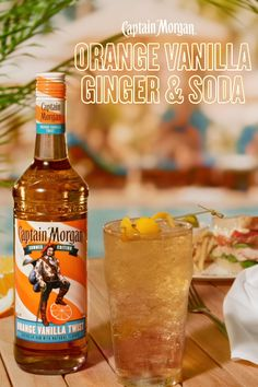 The Captain Morgan Orange Vanilla Ginger & Soda an easy to make, refreshing tasting cocktail that will make night 4 of binge-watching TV feel like summer by the pool.New, limited edition Captain Morga Party Drinks, Cocktail Drinks, Fun Drinks, Cocktail Recipes, Alcoholic Drinks, Beverages, Ginger Soda, Ginger Ale, Alcohol Drink Recipes