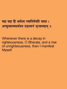 Bhagvad Gita chapter 4 verse 7 Hinduism Quotes, Sanskrit Quotes, Sanskrit Mantra, Gita Quotes, Krishna Quotes, Spiritual Quotes, Wisdom Quotes, Book Quotes, Yoga Mantras