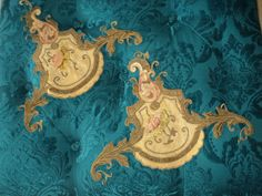 Large Pair 19th C Antique Floral Applique Silk Embroidered with metallic  Trim  for Pillows or lampshades