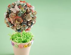 topiario flores de papel