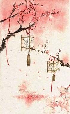 Love the lanterns and the red/pink colors Art Asiatique, China Art, China China, Anime Scenery, Japan Art, Chinese Painting, Pretty Art, Amazing Art, Watercolor Art