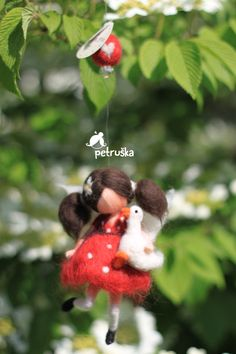 Needle felted Fairy figurine in red polka dot dress - Hanging Mobile - Girls fairy decor Red Polka Dot Dress, Yellow Dress, Fairy Gifts, First Communion Gifts, Felt Fairy, Fairy Figurines, Hanging Mobile, Needle Felted, Felting Tutorials