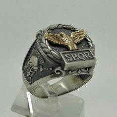 Handcrafted Silver 925 & Gold 10K Roman Empire Eagle SPQR mens Ring Skull Biker