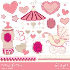 15 perfectly pink baby clipart and 2 borders, great for baby books, scrapbooking, cards, invitations, baby showers and more, features baby bottle, emblems, mobile, baby carriage, hearts and stars.