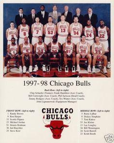 1997-98 CHICAGO BULLS MICHAEL JORDAN PIPPEN RODMAN NBA CHAMPIONS 8x10 TEAM PHOTO