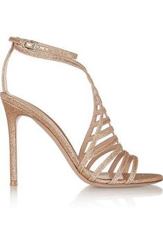 Glitter-finished twill sandals #shoes #women #covetme #gianvitorossi