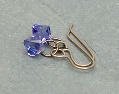 Blue crystal  & titanium earrings. by BijoubeadsLondon