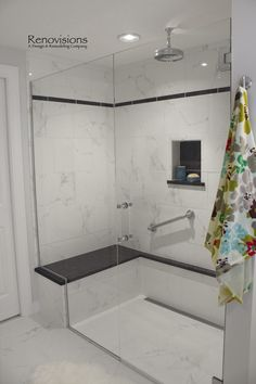 Curbless Shower Ideas that Pretty Awesome 0050 Modern White Bathroom, Small Bathroom, Bathroom Ideas, Bathrooms, Bath Ideas, Natural Bathroom, Bathroom Updates, Bathroom Designs, Bathroom Storage