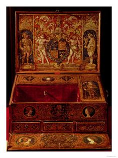 Royal Desk with King Henry  & Queen Katherine of Aragon's arms. This is a good view of it.