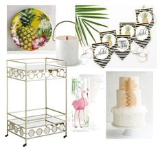 Pineapple Party on a Cart by sunshinetulipdesign on Polyvore featuring polyvore, interior, interiors, interior design, home, home decor, interior decorating, Pier 1 Imports and Williams-Sonoma