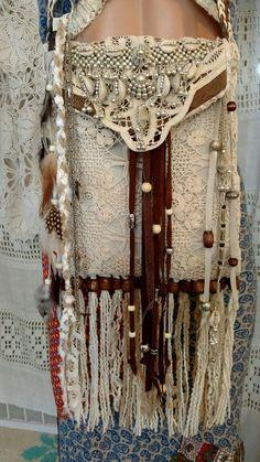 Handmade Vintage Lace Crochet Leather Fringe Shoulder Bag Hippie Purse tmyers #Handmade #ShoulderBag