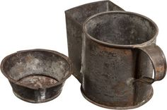 "Unusual Form Civil War Period Tin Shaving Mug. Just 3"" high with original soap 'dish and very large spout."