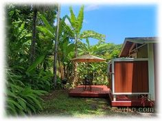 Haena, North Shore, Kauai, Hawaii  Outdoor shower, Cottage by the beach