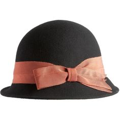 Black bow cloche hat found on Polyvore