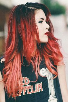 Red hair ombre pink. Red to coral and peach