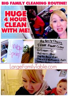 🏡 BIG FAMILY CLEANING ROUTINE 🏡 | HUGE 4-HOUR POWER CLEAN WITH ME ~ Large Family Mom Style! - Large Family Table