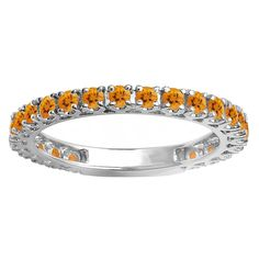Elora 14k White Gold 7/8ct TW Round Citrine Eternity Stackable Wedding Band (Size 6, White Gold), Women's, Yellow