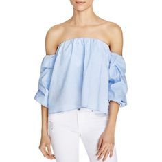 Bardot Caught Sleeve Off-The-Shoulder Top ($83) ❤ liked on Polyvore featuring tops, sky blue, blue off the shoulder top, off shoulder tops, off-the-shoulder tops, blue top and bardot top