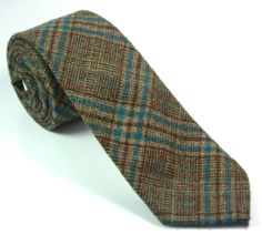 WEMBLEY SKINNY VINTAGE TIE 55L Browns Turquoise Woven Check Wool Blend Necktie