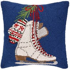 "Winter Holiday Ice Skates by Designer Mary Lake Thompson - 18"" Wool Hooked Pillow"