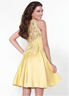 Lovely Satin High Collar Neckline A-Line Homecoming Dresses