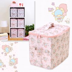 9a22fcd7e358 Little Twin Stars Kiki Lala Fabric Folding Storage Box Bag Stars Pink SANRIO  JAPAN-01