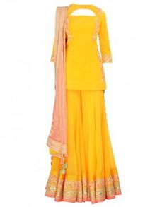 Embroidered Poppy Yellow Sharara Set