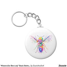 "2.25"" Watercolor Bee  Basic Button Keychain"